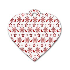Christmas Pattern  Dog Tag Heart (two Sides)