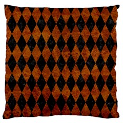 Diamond1 Black Marble & Brown Marble Large Flano Cushion Case (two Sides)