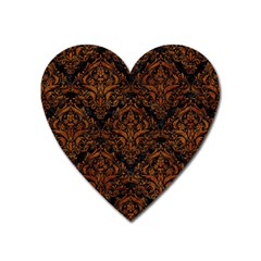 Damask1 Black Marble & Brown Marble Magnet (heart)