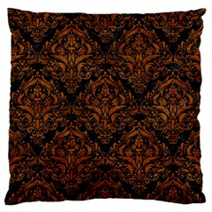 Damask1 Black Marble & Brown Marble Large Flano Cushion Case (two Sides)