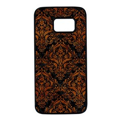 Damask1 Black Marble & Brown Marble Samsung Galaxy S7 Black Seamless Case