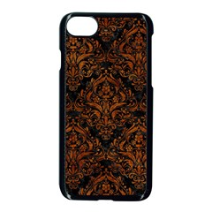 Damask1 Black Marble & Brown Marble Apple Iphone 7 Seamless Case (black)