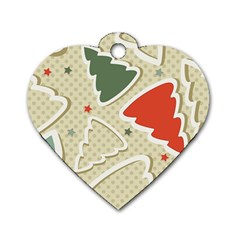 Christmas Tree Stars Pattern Dog Tag Heart (one Side)