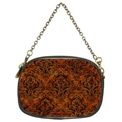 Damask1 Black Marble & Brown Marble (r) Chain Purse (two Sides)