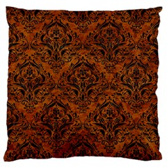 Damask1 Black Marble & Brown Marble (r) Large Flano Cushion Case (two Sides)
