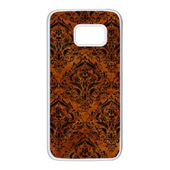 Damask1 Black Marble & Brown Marble (r) Samsung Galaxy S7 White Seamless Case