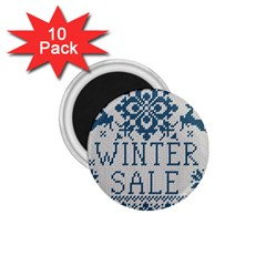 Christmas Elements With Knitted Pattern Vector   1 75  Magnets (10 Pack)