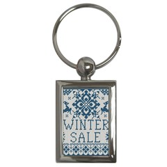 Christmas Elements With Knitted Pattern Vector   Key Chains (rectangle)