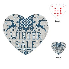 Christmas Elements With Knitted Pattern Vector   Playing Cards (heart)