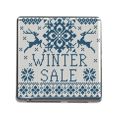 Christmas Elements With Knitted Pattern Vector   Memory Card Reader (square)