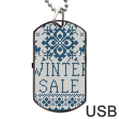 Christmas Elements With Knitted Pattern Vector   Dog Tag Usb Flash (one Side)
