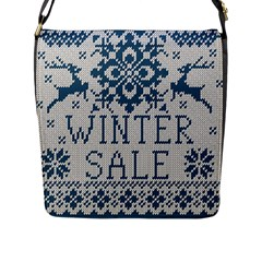 Christmas Elements With Knitted Pattern Vector   Flap Messenger Bag (l)