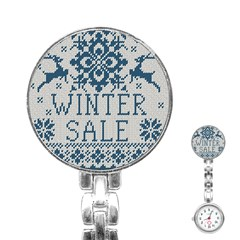 Christmas Elements With Knitted Pattern Vector   Stainless Steel Nurses Watch