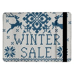Christmas Elements With Knitted Pattern Vector   Samsung Galaxy Tab Pro 12 2  Flip Case