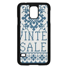 Christmas Elements With Knitted Pattern Vector   Samsung Galaxy S5 Case (black)