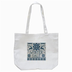 Christmas Elements With Knitted Pattern Vector   Tote Bag (white)