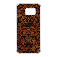 Damask2 Black Marble & Brown Marble (r) Samsung Galaxy S7 Edge White Seamless Case