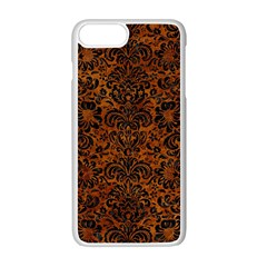Damask2 Black Marble & Brown Marble (r) Apple Iphone 7 Plus White Seamless Case