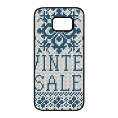 Christmas Elements With Knitted Pattern Vector   Samsung Galaxy S7 Edge Black Seamless Case