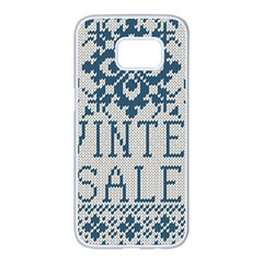Christmas Elements With Knitted Pattern Vector   Samsung Galaxy S7 Edge White Seamless Case