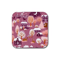 Cute Christmas Seamless Pattern Rubber Coaster (square)
