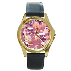 Cute Christmas Seamless Pattern Round Gold Metal Watch