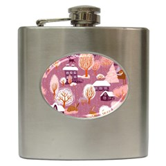 Cute Christmas Seamless Pattern Hip Flask (6 Oz)