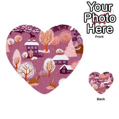Cute Christmas Seamless Pattern Multi Purpose Cards (heart)