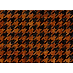 Houndstooth1 Black Marble & Brown Marble Birthday Cake 3d Greeting Card (7x5)