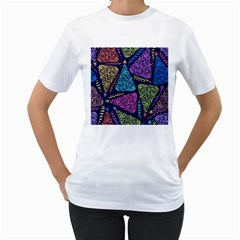 Christmas Patterns Women s T Shirt (white) (two Sided)