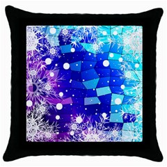 Christmas Snowflake With Shiny Polygon Background Vector Throw Pillow Case (black)