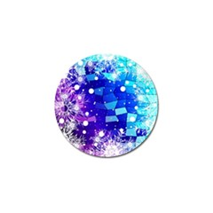 Christmas Snowflake With Shiny Polygon Background Vector Golf Ball Marker