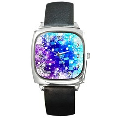 Christmas Snowflake With Shiny Polygon Background Vector Square Metal Watch