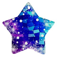 Christmas Snowflake With Shiny Polygon Background Vector Star Ornament (two Sides)