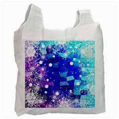 Christmas Snowflake With Shiny Polygon Background Vector Recycle Bag (one Side)