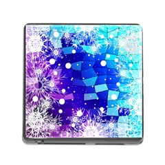 Christmas Snowflake With Shiny Polygon Background Vector Memory Card Reader (square)