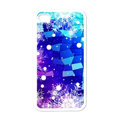 Christmas Snowflake With Shiny Polygon Background Vector Apple Iphone 4 Case (white)