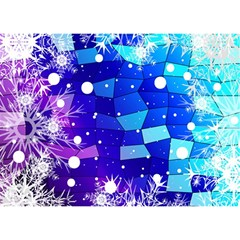 Christmas Snowflake With Shiny Polygon Background Vector Birthday Cake 3d Greeting Card (7x5)