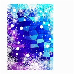 Christmas Snowflake With Shiny Polygon Background Vector Small Garden Flag (two Sides)