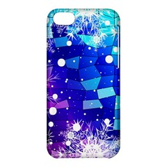 Christmas Snowflake With Shiny Polygon Background Vector Apple Iphone 5c Hardshell Case