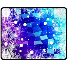 Christmas Snowflake With Shiny Polygon Background Vector Double Sided Fleece Blanket (medium)