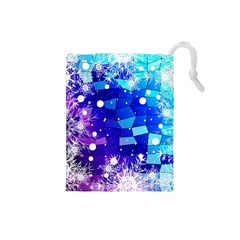 Christmas Snowflake With Shiny Polygon Background Vector Drawstring Pouches (small)