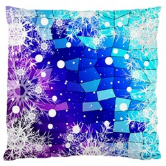 Christmas Snowflake With Shiny Polygon Background Vector Large Flano Cushion Case (two Sides)