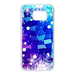 Christmas Snowflake With Shiny Polygon Background Vector Samsung Galaxy S7 White Seamless Case