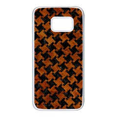 Houndstooth2 Black Marble & Brown Marble Samsung Galaxy S7 White Seamless Case