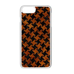 Houndstooth2 Black Marble & Brown Marble Apple Iphone 7 Plus White Seamless Case