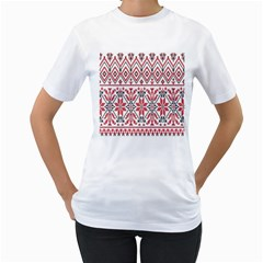 Consecutive Knitting Patterns Vector Background Women s T Shirt (white) (two Sided)