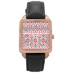 Consecutive Knitting Patterns Vector Background Rose Gold Leather Watch