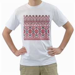 Consecutive Knitting Patterns Vector Background Men s T Shirt (white)