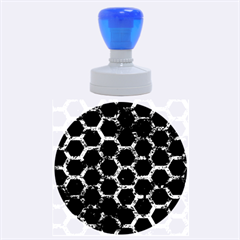 Hexagon2 Black Marble & Brown Marble Rubber Stamp Round (large)